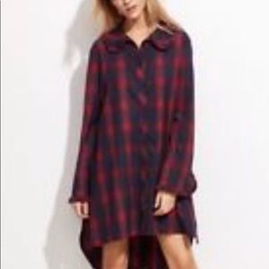 Zara Flannel checkered midi shirt dress